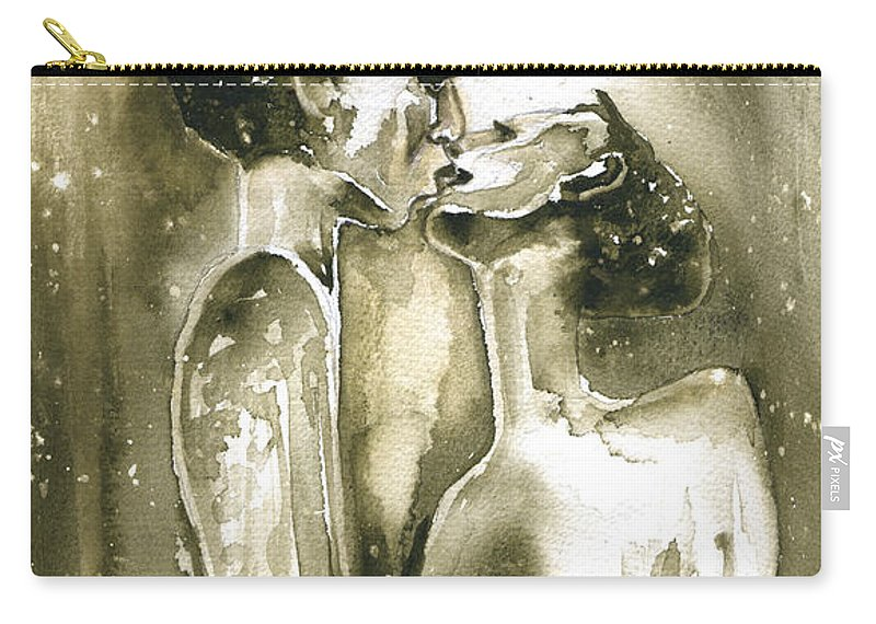 Travel Carry-all Pouch featuring the painting The Kiss by Miki De Goodaboom
