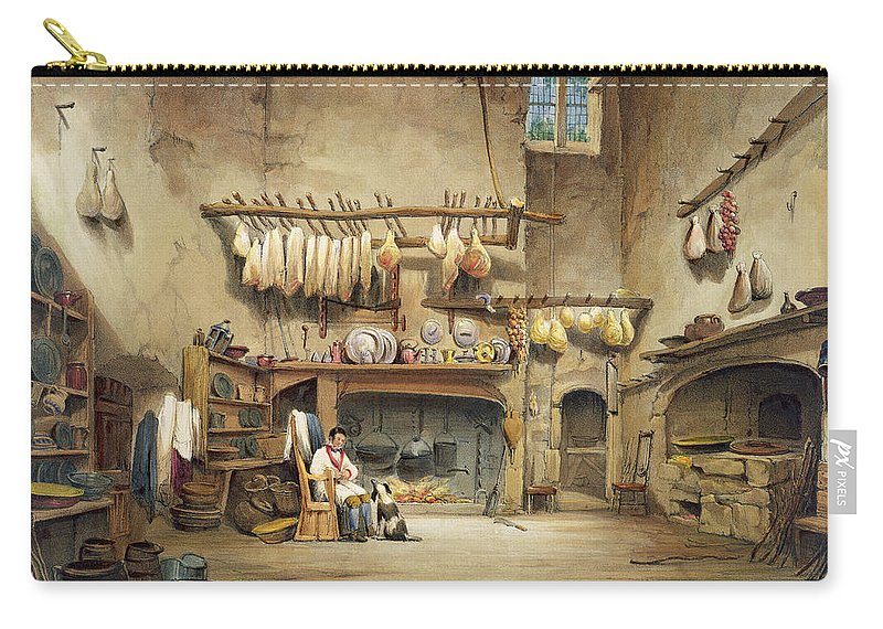 Cornish Stately Home Carry-all Pouch featuring the painting The Kitchen by English School