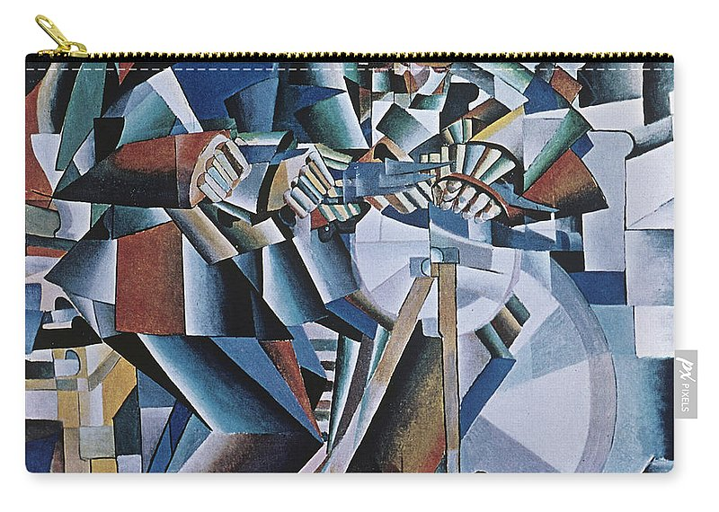 Knife Grinder; Sharpening; Machine Age; Abstract; Abstraction; Geometric; Geometry; Dynamic; Dynamism; Cubo-futurist; Cubo-futurism; Suprematist; Suprematism; Contemporary & Modern Art Carry-all Pouch featuring the painting The Knife Grinder by Kazimir Malevich