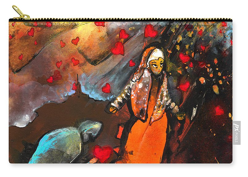 Valentine Carry-all Pouch featuring the painting The Knight Of Your Heart by Miki De Goodaboom