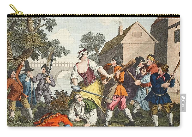 Poem Carry-all Pouch featuring the drawing The Knight Submits To Trulla by William Hogarth