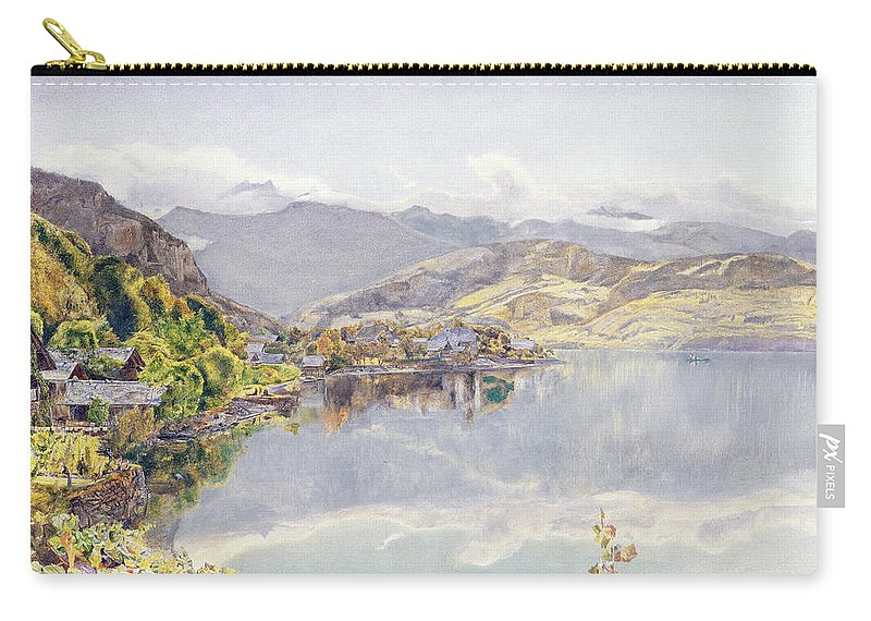 Swiss Landscape Carry-all Pouch featuring the drawing The Lake Of Lucerne, Mount Pilatus by John William Inchbold