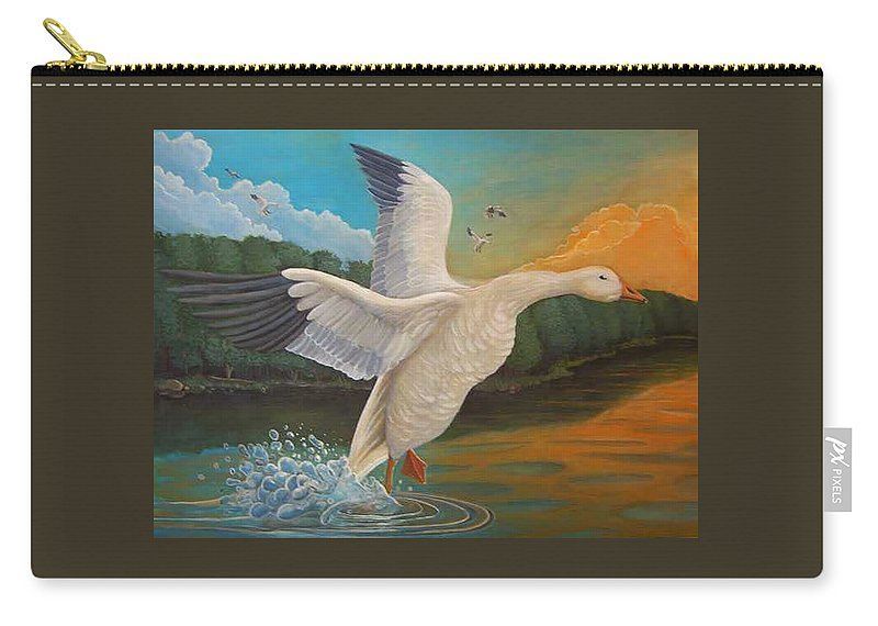 Rick Huotari Carry-all Pouch featuring the painting The Landing by Rick Huotari