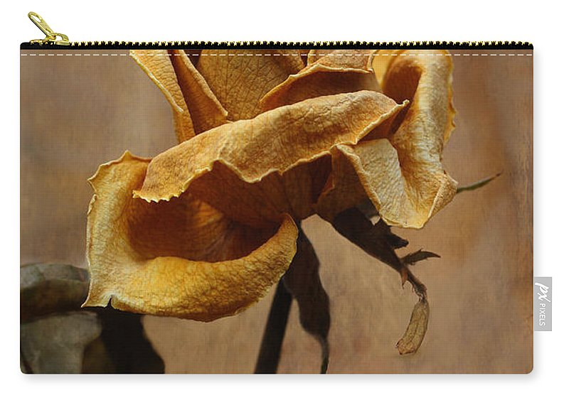 Rose Carry-all Pouch featuring the photograph The Last Autumn Rose Before The First Snow by Guna Andersone
