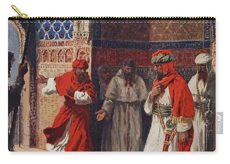 Muslim Carry-all Pouch featuring the drawing The Last Council Of Boabdil by John Harris Valda
