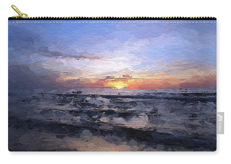 Sun Sunset Sea Baltic Wave Waves Light Color Colorful Ocean Cloud Clouds Expressionism Painting Carry-all Pouch featuring the painting The Last Light by Steve K