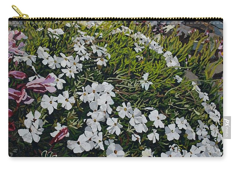 Landscape Carry-all Pouch featuring the mixed media The Last of Mt. Rainier by Leah Tomaino