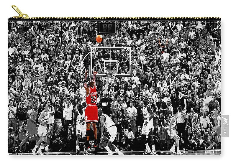 Michael Jordan Carry-all Pouch featuring the photograph The Last Shot 1 by Brian Reaves