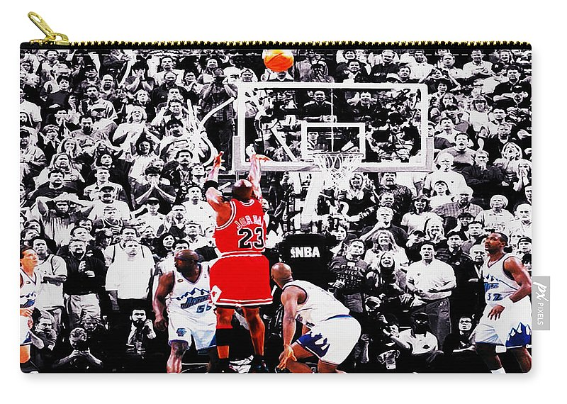 Michael Jordan Carry-all Pouch featuring the digital art The Last Shot by Brian Reaves