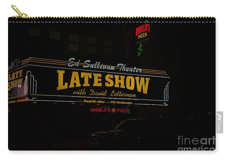 Neon Signs Carry-all Pouch featuring the digital art The Late Show by Carol Ailles
