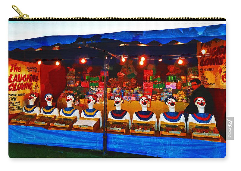 Carnival; Canterbury; Christchurch; Face; Mouth; Laugh; Laughing; Clown; Lights; Lamps; Game; Prize; South Island; New Zealand; New Brighton; Win; Lose; Funfair; Fair; Ruff Carry-all Pouch featuring the photograph The Laughing Clowns by Steve Taylor