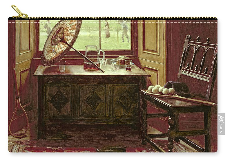 Racquet Carry-all Pouch featuring the painting The Lawn Tennis Season, 1881 by Mary Hayllar