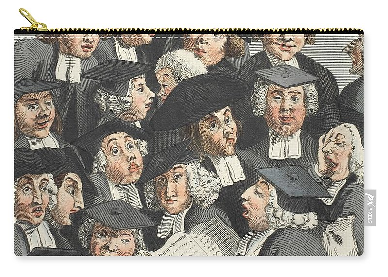 Caricature Carry-all Pouch featuring the drawing The Lecture, Illustration From Hogarth by William Hogarth