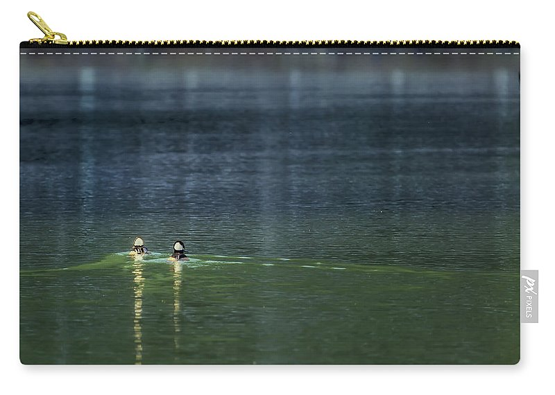 Hooded Mergansers Carry-all Pouch featuring the photograph The Leisurely Getaway by Belinda Greb