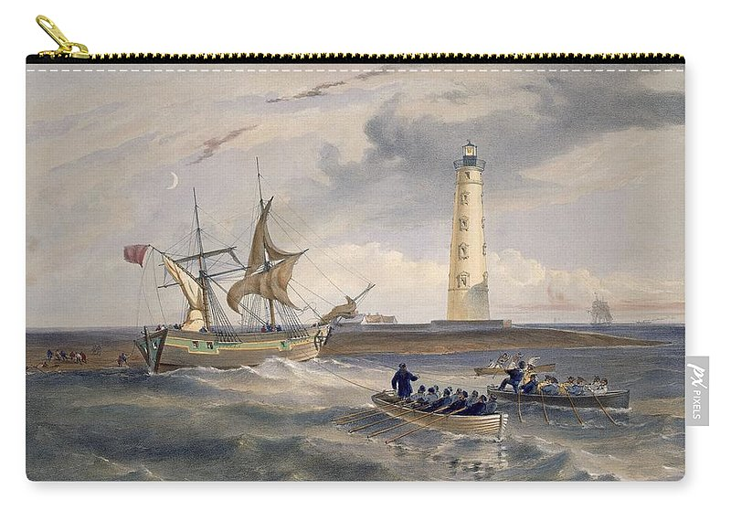 Ship Carry-all Pouch featuring the drawing The Lighthouse At Cape Chersonese by William 'Crimea' Simpson