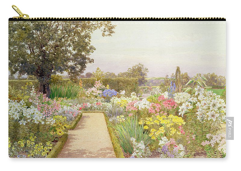 Garden Carry-all Pouch featuring the painting The Lily Border At Great Tangley Manor by Thomas H. Hunn