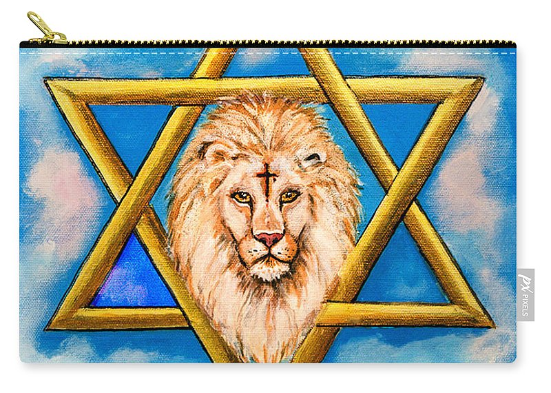 Anointed Carry-all Pouch featuring the painting The Lion Of Judah #5 by Bob and Nadine Johnston