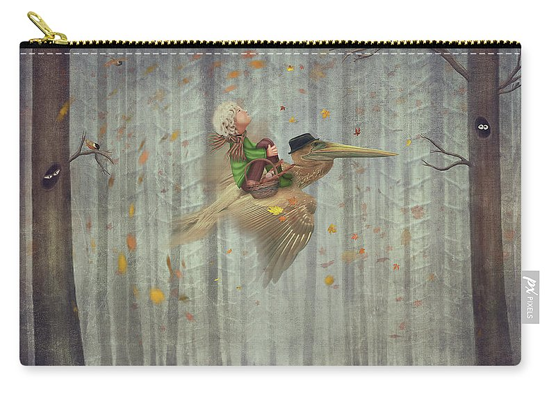 Flowerbed Carry-all Pouch featuring the digital art The Little Boy And Brown Pelican Fly by Maroznc