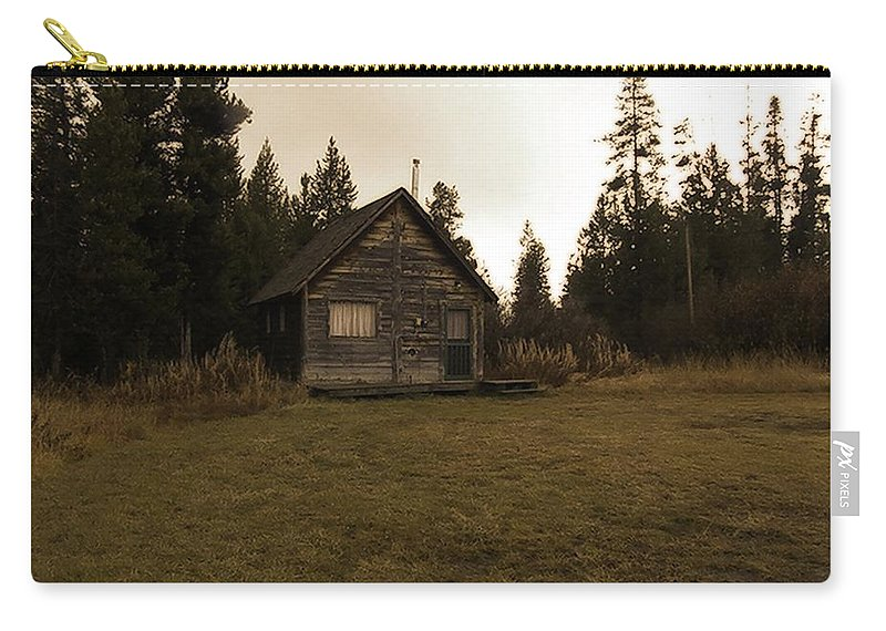 Island Park Carry-all Pouch featuring the photograph The Little Cabin In The Woods by Image Takers Photography LLC