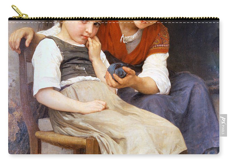 The Little Sulk Carry-all Pouch featuring the digital art The Little Sulk by William Bouguereau