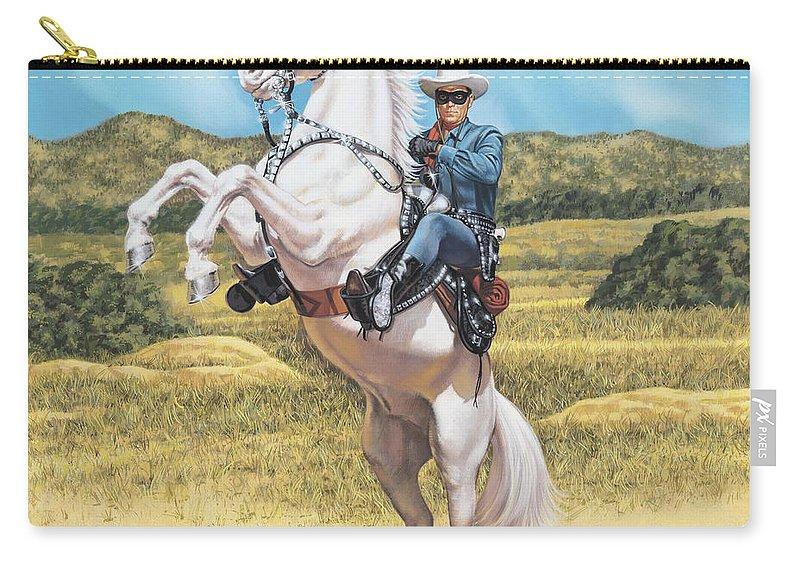 Portrait Carry-all Pouch featuring the painting The Lone Ranger by Dick Bobnick