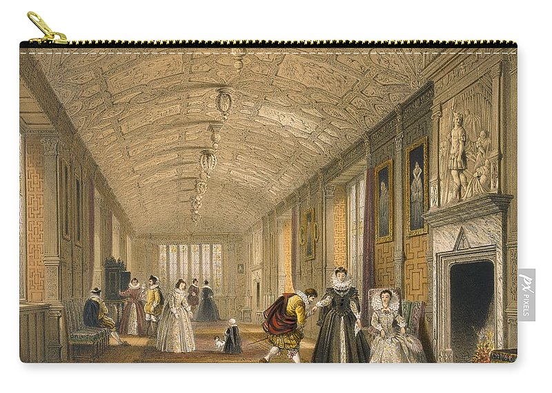 Interior Carry-all Pouch featuring the drawing The Long Gallery At Lanhydrock by Joseph Nash