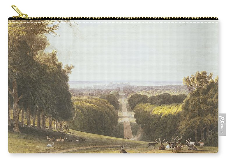 Formal Carry-all Pouch featuring the drawing The Long Walk, Windsor Park by William Daniell