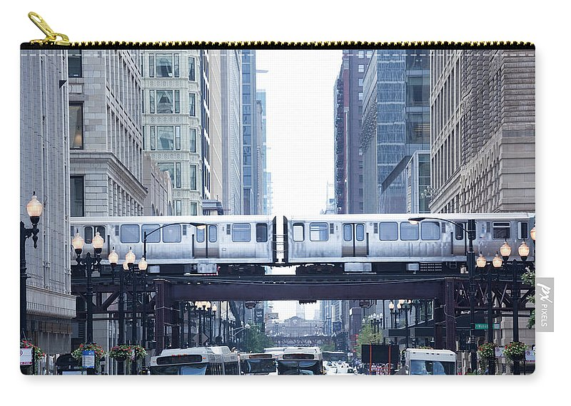 Scenics Carry-all Pouch featuring the photograph The Loop And El Train In Chicago by Yinyang