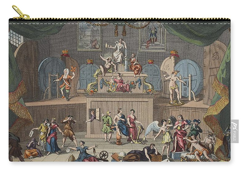 Georgian Carry-all Pouch featuring the drawing The Lottery, Illustration From Hogarth by William Hogarth