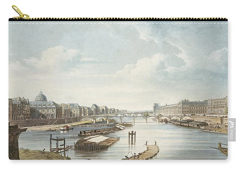 View Carry-all Pouch featuring the drawing The Louvre, From Views On The Seine by Augustus Charles Pugin