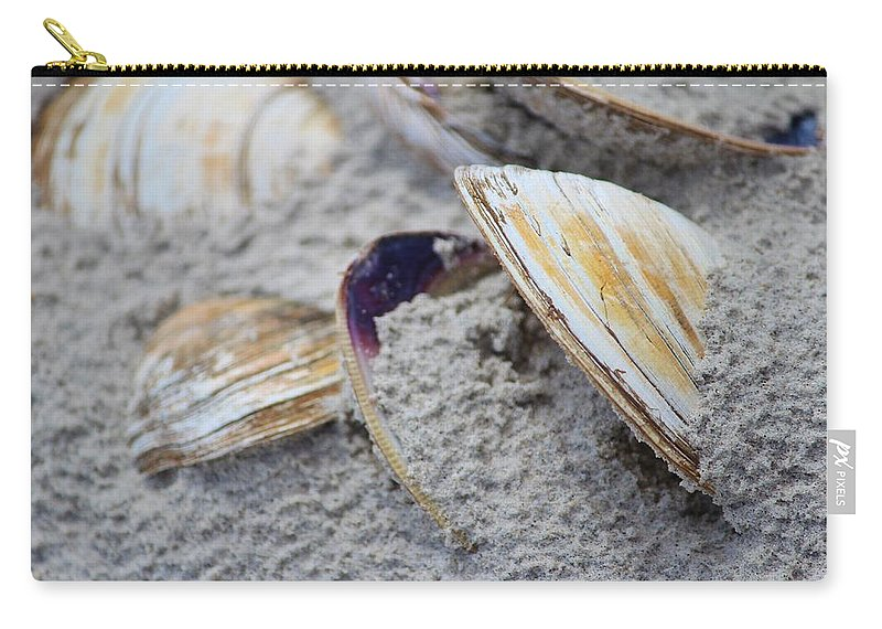 Shell Carry-all Pouch featuring the photograph Shells In The Sand by Cynthia Guinn