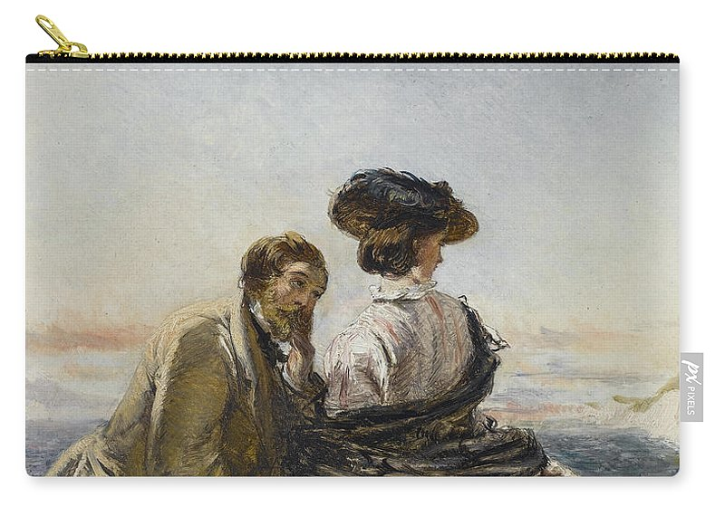 William Powell Frith Carry-all Pouch featuring the digital art The Lovers by William Powell Frith