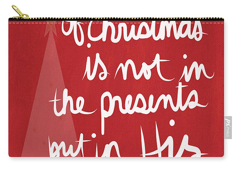 Religious Holiday Card Carry-all Pouch featuring the mixed media The Magic Of Christmas- Greeting Card by Linda Woods
