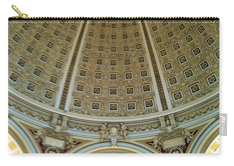 Dome Carry-all Pouch featuring the photograph The Main Reading Room Library Of Congress by Lois Ivancin Tavaf
