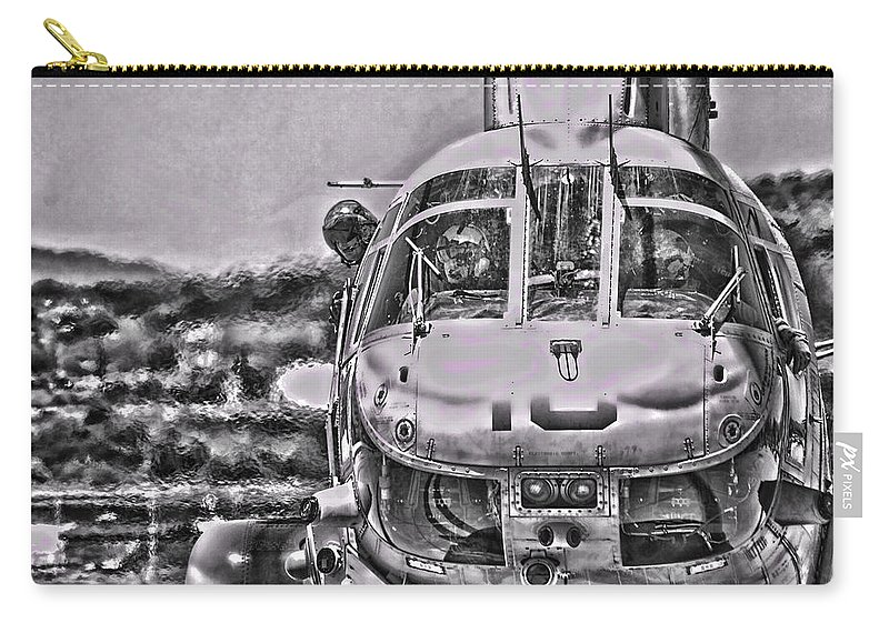 Boeing Vertol Ch-46 Sea Knight Carry-all Pouch featuring the photograph The Marine Crew Chief by Tommy Anderson