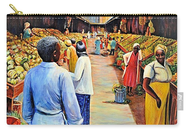 Jaxine Cummins Carry-all Pouch featuring the painting The Market Place by JAXINE Cummins
