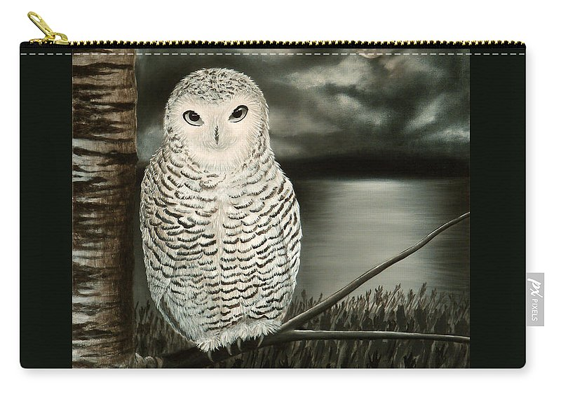 Owl Carry-all Pouch featuring the painting The Marsh At Night by Liz Boston