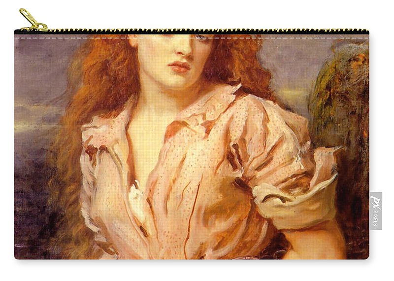 The Martyr Of The Solway Carry-all Pouch featuring the digital art The Martyr Of The Solway by John Everett Millais