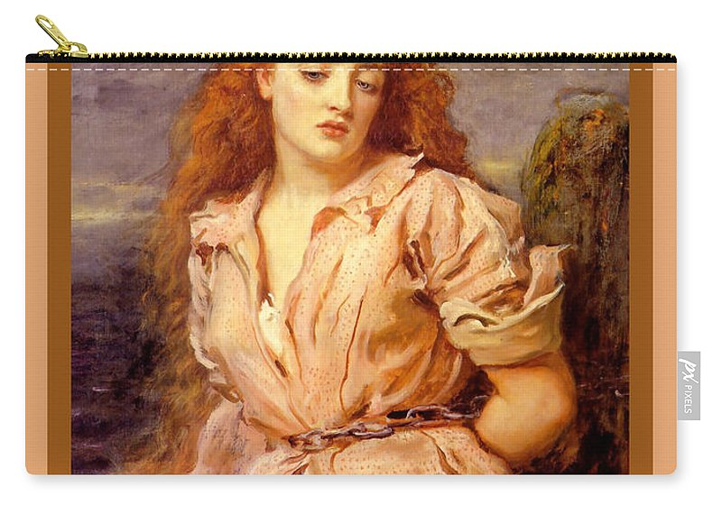 The Martyr Of The Solway Carry-all Pouch featuring the digital art The Martyr Of The Solway Poster by John Everett Millais