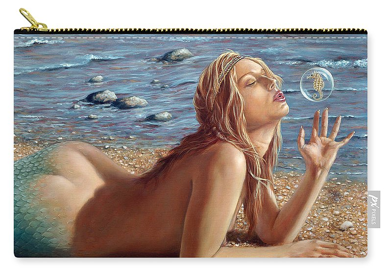 Seahorse Carry-all Pouch featuring the painting The Mermaids Friend by John Silver