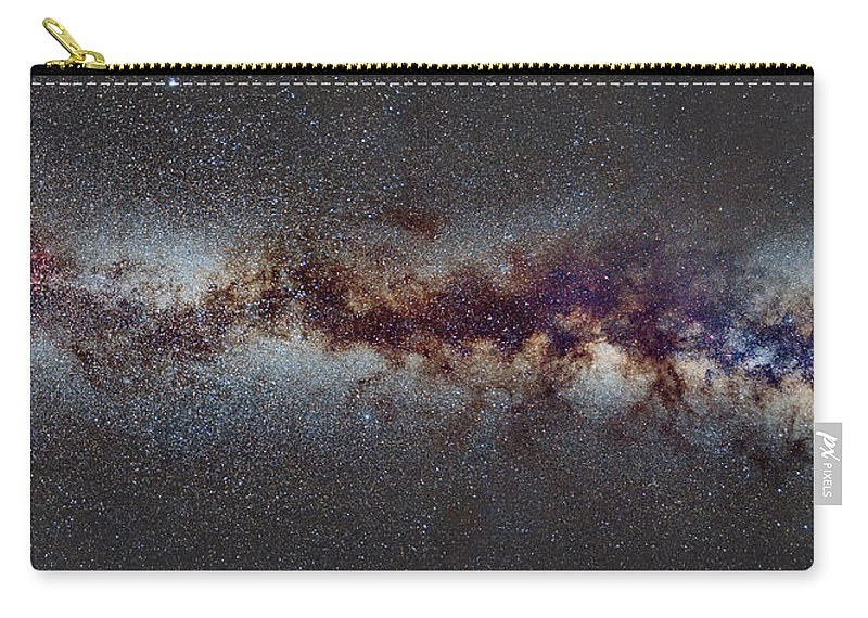 Landscapes Carry-all Pouch featuring the photograph The Milky Way From Scorpio Antares And Sagitarius To North America Nebula In Cygnus by Guido Montanes Castillo