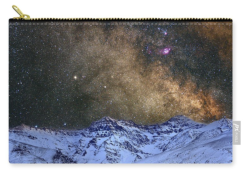 Landscapes Carry-all Pouch featuring the photograph The Milky Way Over The High Mountains by Guido Montanes Castillo