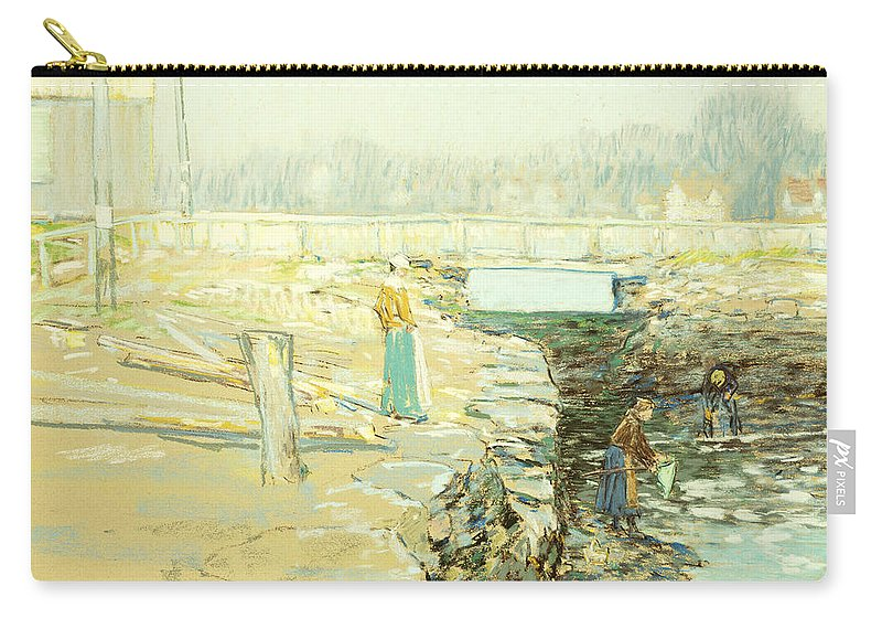 Agricultural; Agriculture; Peasants Carry-all Pouch featuring the painting The Mill Dam Cos Cob by Childe Hassam