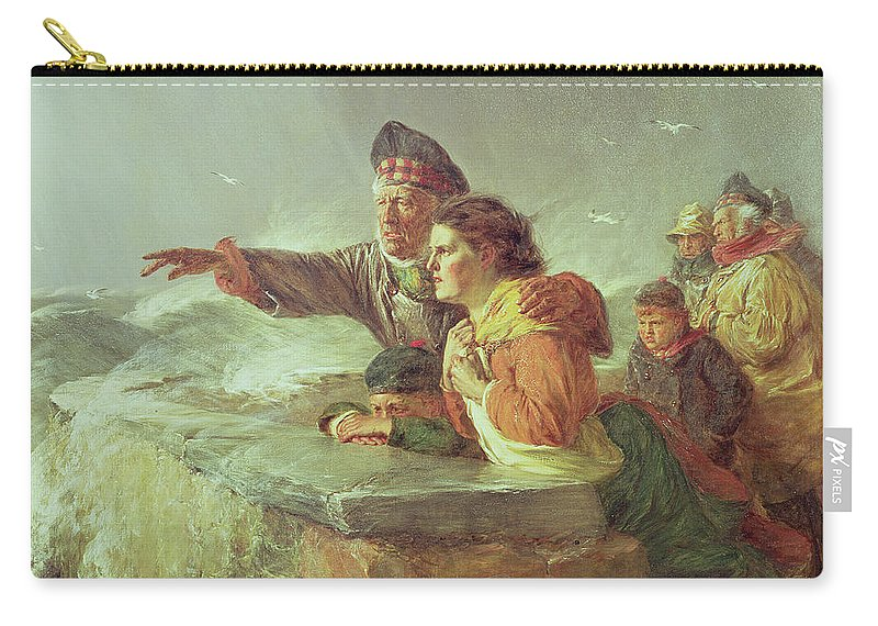 Waiting Carry-all Pouch featuring the painting The Missing Boat, C.1876 by Erskine Nicol