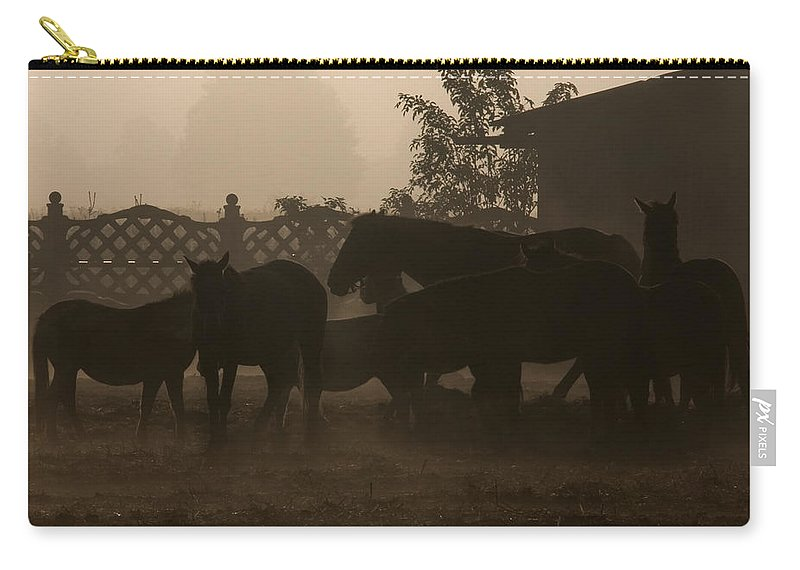 Misty Morning Carry-all Pouch featuring the photograph The Misty Morning by Angel Tarantella