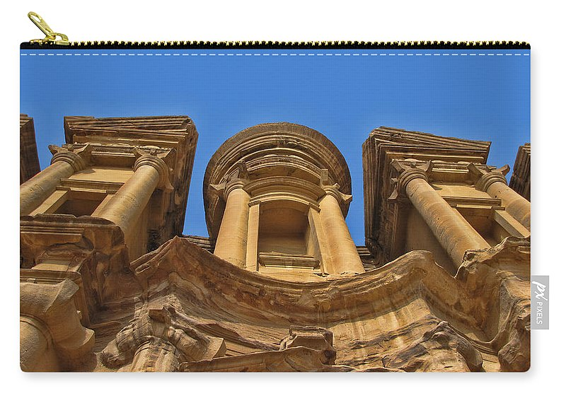 Petra Carry-all Pouch featuring the photograph The Monastery In Petra by David Gleeson