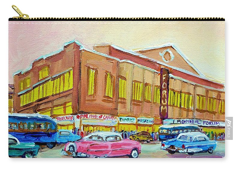 Montreal Carry-all Pouch featuring the painting The Montreal Forum by Carole Spandau