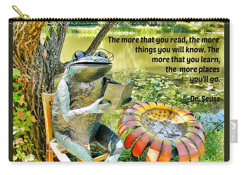 Frog Carry-all Pouch featuring the photograph The More That You Read... by Jean Goodwin Brooks