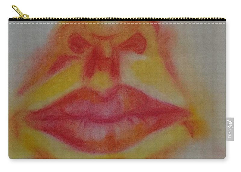 Mouth Carry-all Pouch featuring the pastel The Mouth by Liz Pritchett