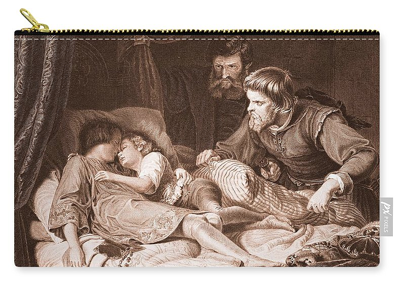 Male Carry-all Pouch featuring the drawing The Murder Of The Princes In The Tower by English School